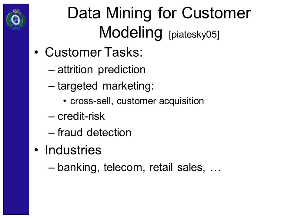 Data Mining for Customer Modeling [piatesky05]